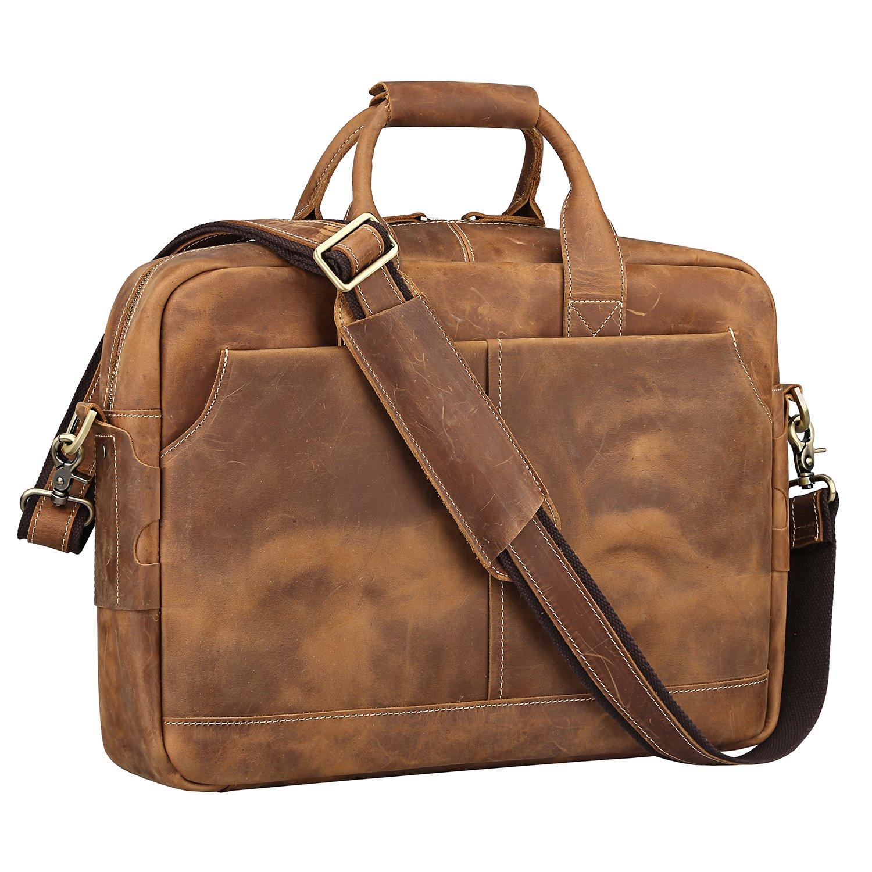 S-ZONE Genuine Leather Briefcase Messenger Bag 17 inch Laptop Bag Shoulder Crossbody Bag