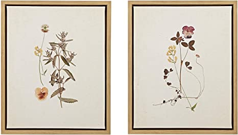Amazon Com Martha Stewart French Herbarium Wall Art Living Room Floral Framed Linen Canvas Home Accent Country Bathroom Decoration Ready To Hang Painting For Bedroom 17 84 X 21 84 Multi Home Kitchen