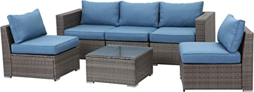 Wisteria Lane 6 Piece Outdoor Furniture Set, Patio Sectional Sofa for Garden Backyard, Modular Wicker Couch with Glass Table – Upgrade Blue Cushion
