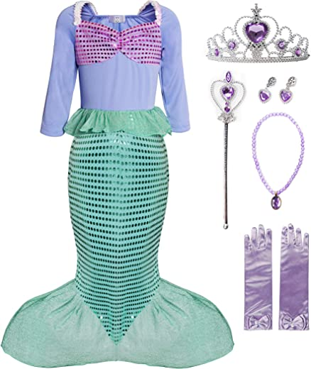 FUNNA Girls Mermaid Costume Princess Dress Up for Party Green with Accessories, 8 Years