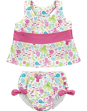 071e33aeb7c00 Baby Girls 2pc Bow Tankini Swimsuit Set with Snap Reusable Absorbent Swim  Diaper