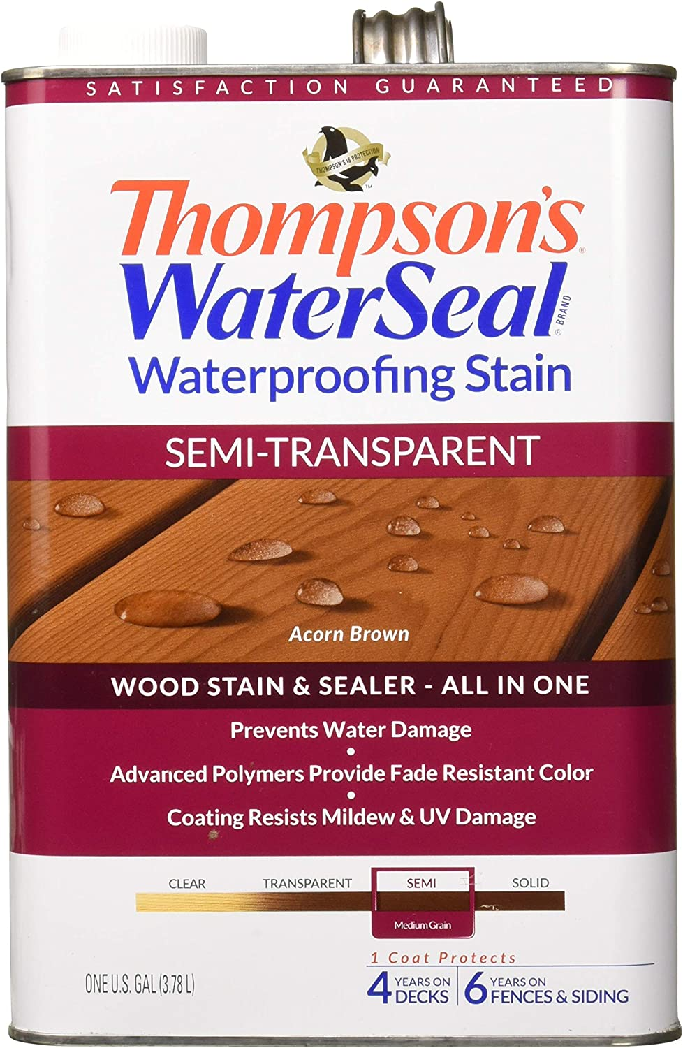 Thompson's TH.042841-16 Waterseal Waterproffing Stain - Semi Transparent, Acorn Brown, 1 gallon
