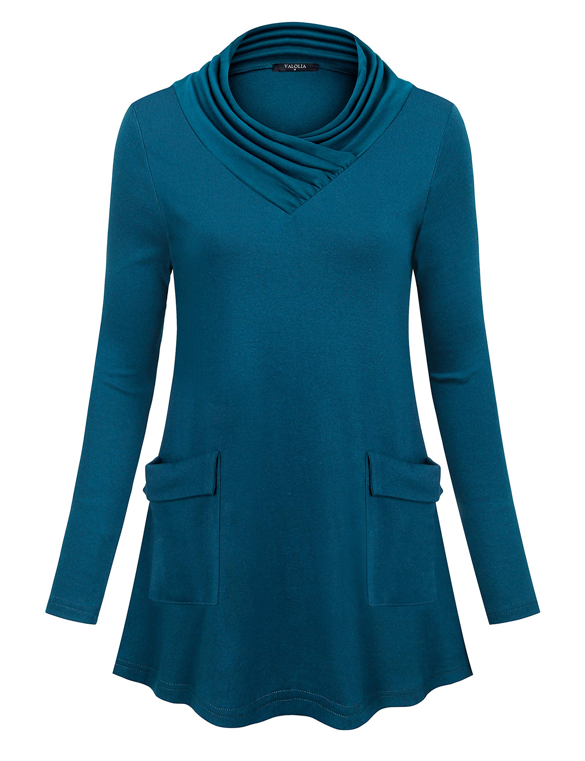 VALOLIA Long Womens Shirts for Leggings, Plus Size Leisure Classic Color Thin Tunic Sweater with Big Pocket Dark Cyan L