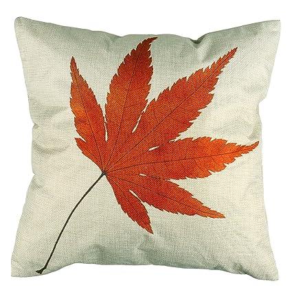 Luxbon Autumn Maple Leave Cotton Linen Throw Pillow Case Farmhouse Leaves Fall Decor Pillow Cover Sofa Couch Chair Decorative Cushion Cover ...