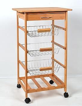 Mesa con rudas para servir de server de bambú carrito de cocina estantería carro con 3 cestas 50 x 87 cm: Amazon.es: Hogar