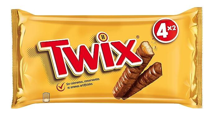Twix - Barritas de galleta y caramelo cubiertas de chocolate, 4 Unidades