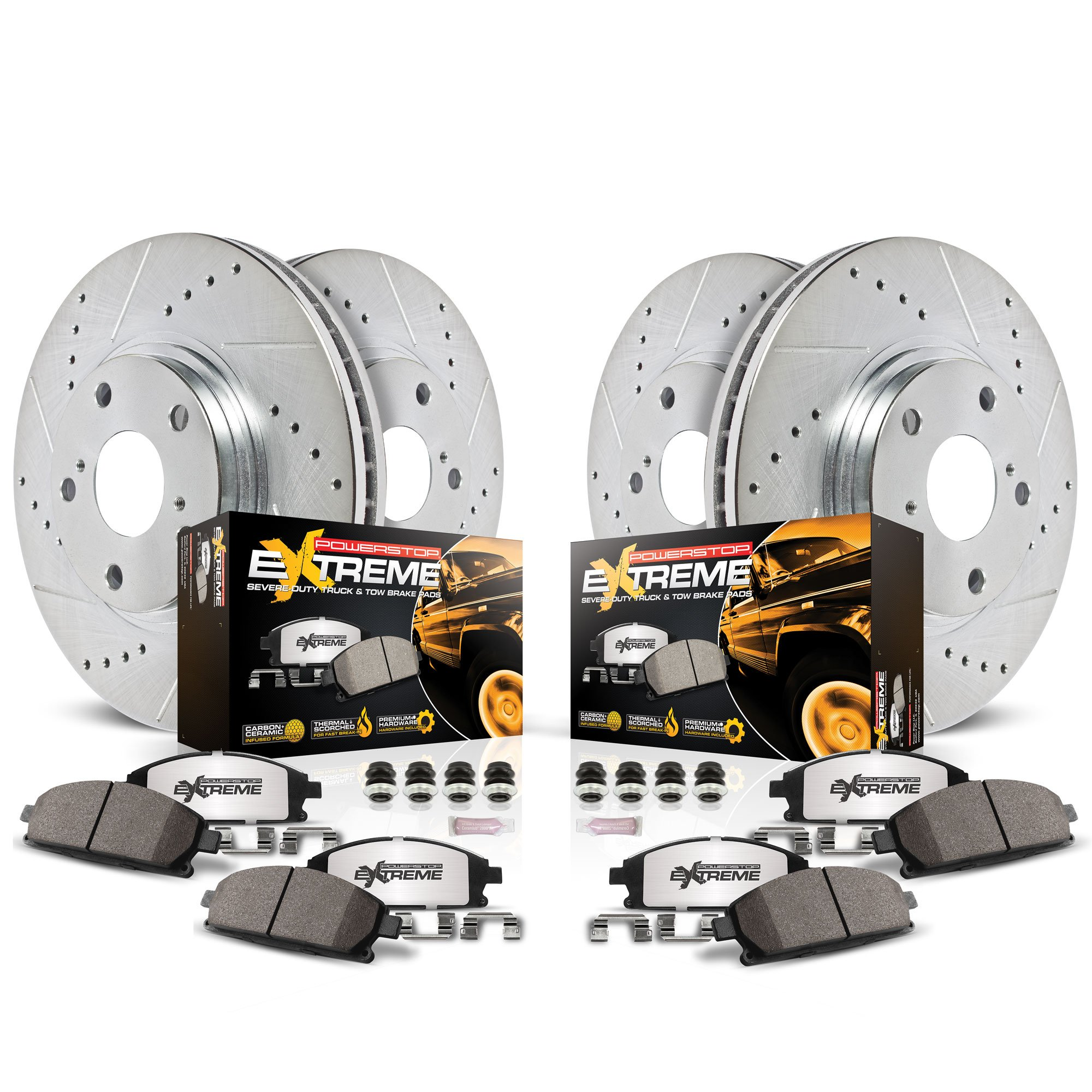 Power Stop K2798-36 Front & Rear Z36 Truck and Tow Brake Kit