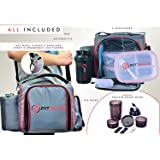 Meal Prep Bag with Portion Control Meal Prep Containers (Adjustable), Bento Lunch Box Meal Management Bag- Bonus Shaker Bottle, Pill Box, 2 Ice Packs, Best Lunch Cooler for Healthy Eating