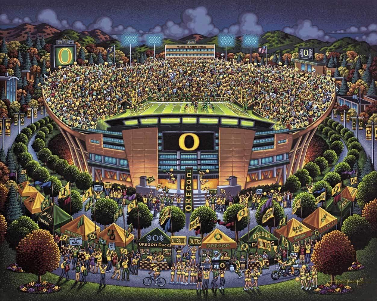 University of Oregon Ducks 100 Piece Dowdle Folk Art 30253 Dowdle Jigsaw Puzzle