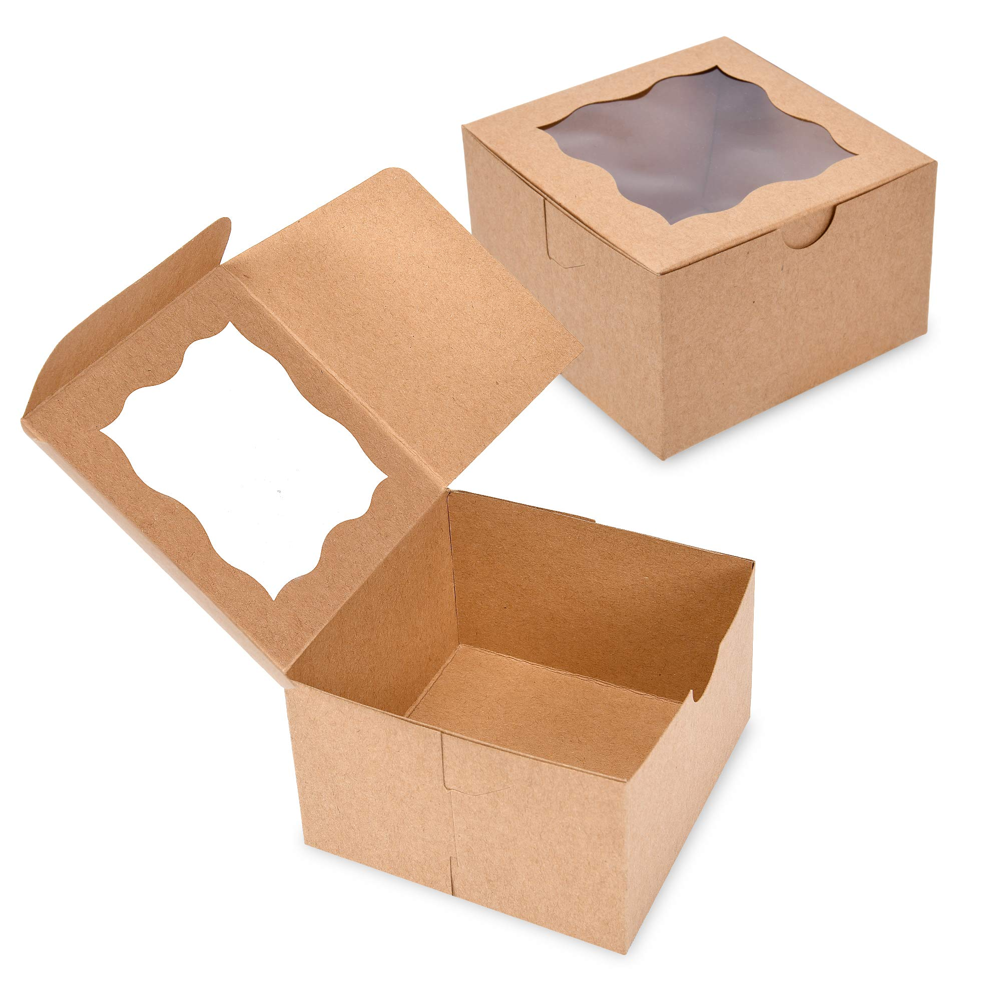 {Pack of 50} White Bakery Boxes with Window 4x4x2.5'' Cute Cardboard Gift Packaging Containers for Cookies, Cupcakes, Small Desserts, Pastry, Wedding Cake, Baby Showers, Donuts, Treats, Party Favors! by Surf City Supplies (Image #7)