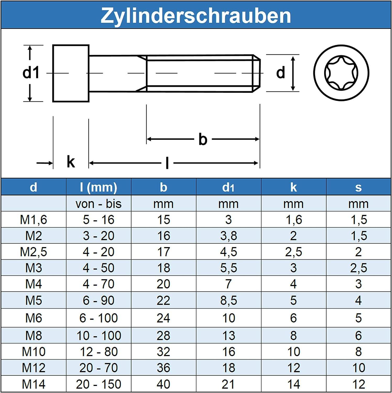 Edelstahl A2 V2A 20 St/ück rostfrei Zylinderschrauben mit Innensechsrund TX M4 x 8 mm Eisenwaren2000 - Zylinderkopf Schrauben ISO 14579 DIN 912 Gewindeschrauben