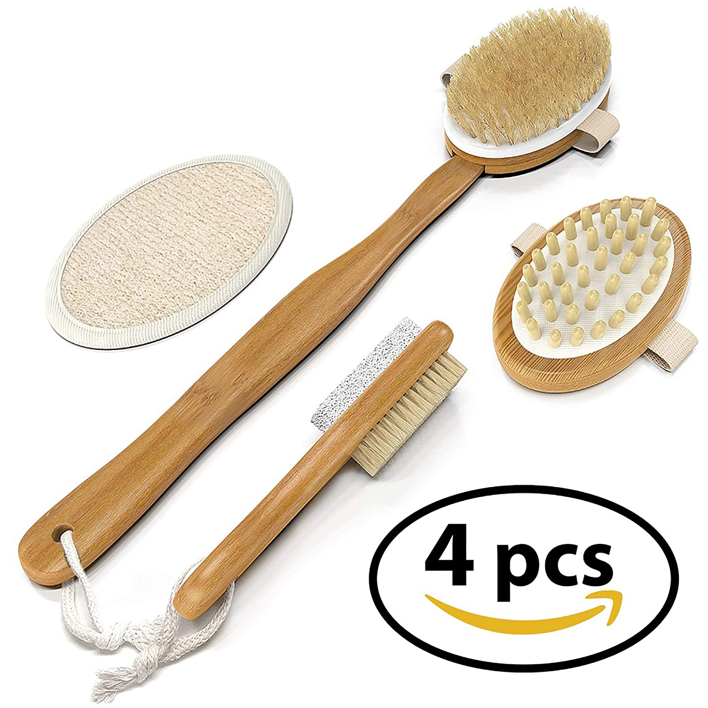BEST DEAL Dry Brush Set for Dry Skin Brushing & Exfoliating - Premium Bamboo Bath & Shower Brush w/ 100% Boar Hair, Cellulite Massager, Foot Pumice Stone Brush by NUVA SPA Nuva Brands