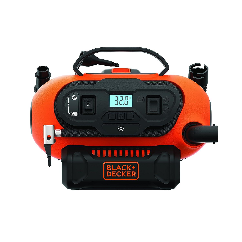 Black+Decker BDCINF18N-QS 11.0 Bar Kompressor/Luftpumpe (mö gliche Stromquelle: 12V-/230V-Anschluss oder 18V Akku, 160PSI, fü r Reifen, Bä lle, Rollstü hle, mit 2 Betriebsarten und Abpump-Modus)