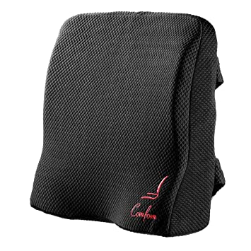 TechButik Lumbar Support for Office Chair Back Car Seat Pillow - Lower Back Pain Relief Ergonomic Orthopedic Memory Foam Cushion with Straps & ...