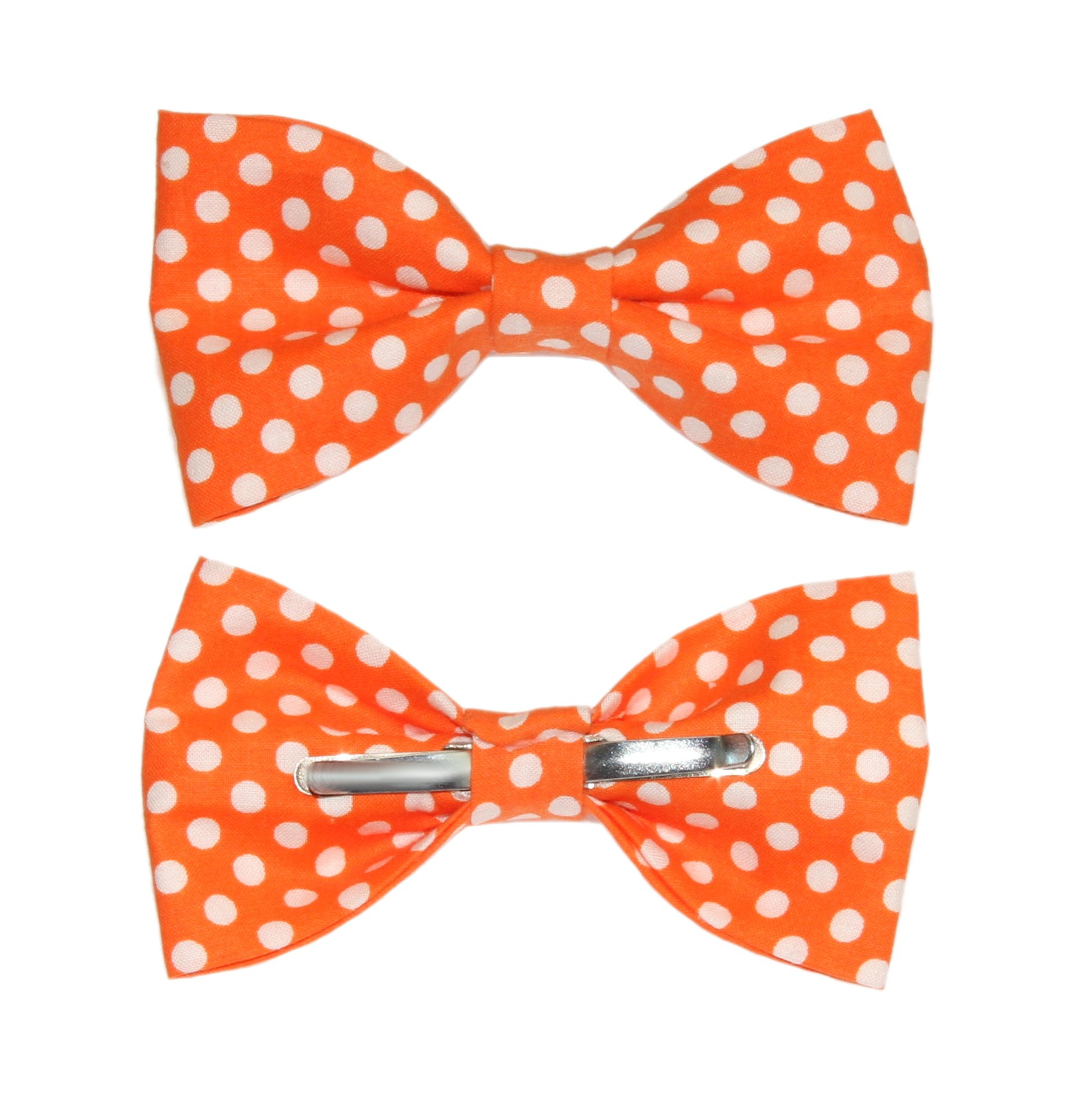 amy2004marie Men's Tangerine Orange With White Dots Clip On Cotton Bow Tie