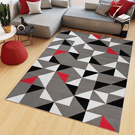 Tapiso Maya Tapis de Salon Chambre Ado Design Moderne Rouge Gris Blanc Noir  Triangle Géométrique Mosaïque Fin 160 x 230 cm