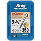 Kreg SML-C250S5-250 Stainless Steel Pocket Hole Screws - 2 1/2-Inch, #10 Coarse, Washer Head, 250 count