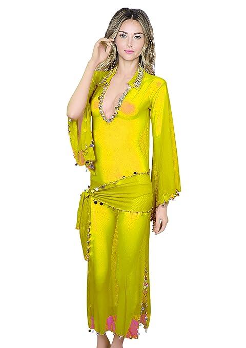 debcd7a6d Amazon.com : treasure.of.egypt Oriental Handmade Sexy Beaded Saidi Costume  Galabya Belly Dance Lingerie Abaya : Sports & Outdoors