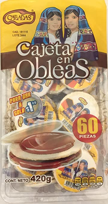 Cabadas Mini Obleas with Cajeta - 60 Pieces of Wafers with Goats Milk Candy