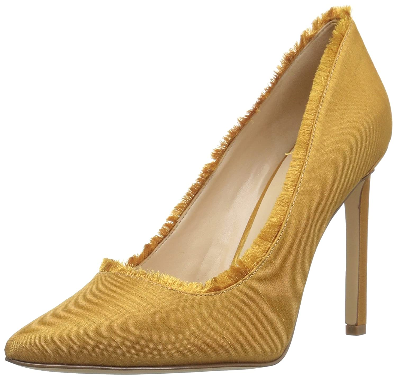 gold Nine West Womens Thayer Fabric Pump