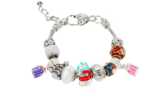 Ladies Charms Bracelet for Women Christmas Theme Silvertone Fashion Accessories Pulseras de Mujer BR-48