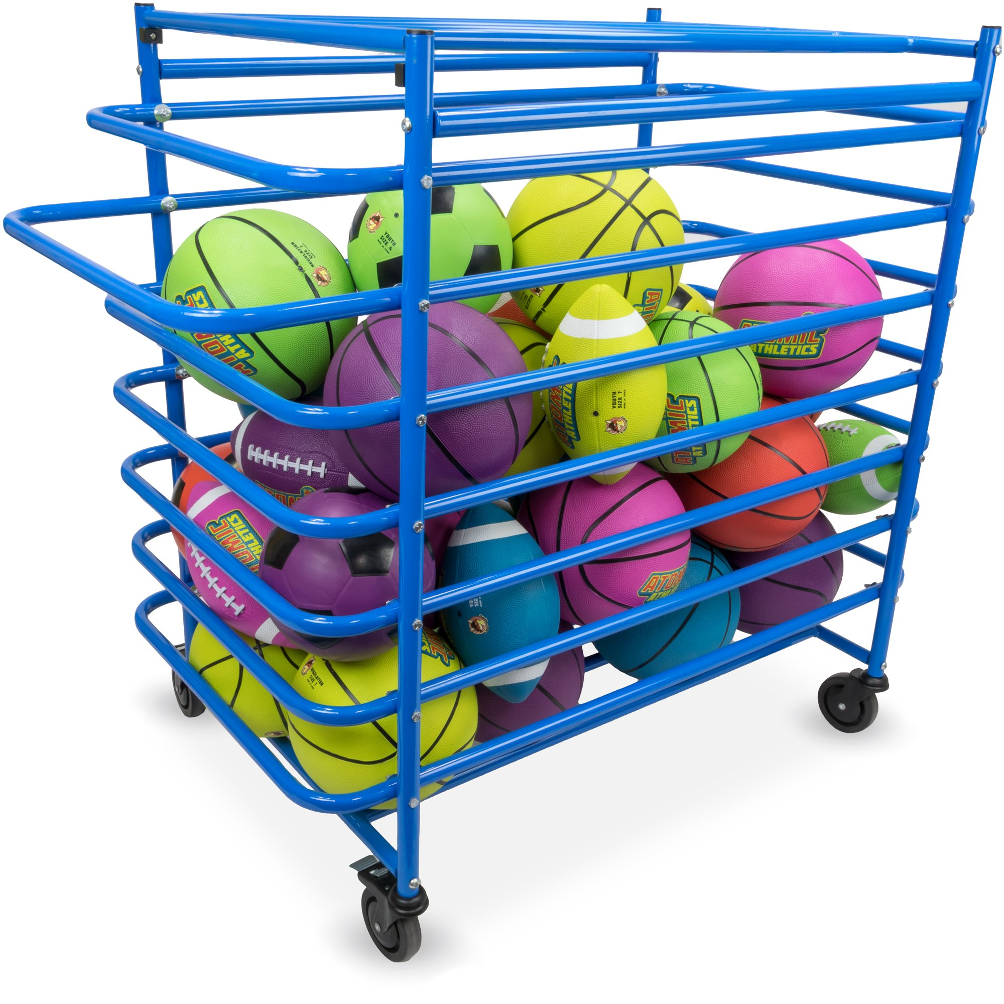 Crown Sporting Goods Metal Sports Ball Cage - Multi-Sport Steel Frame Ball Locker with Caster Wheels and Lock