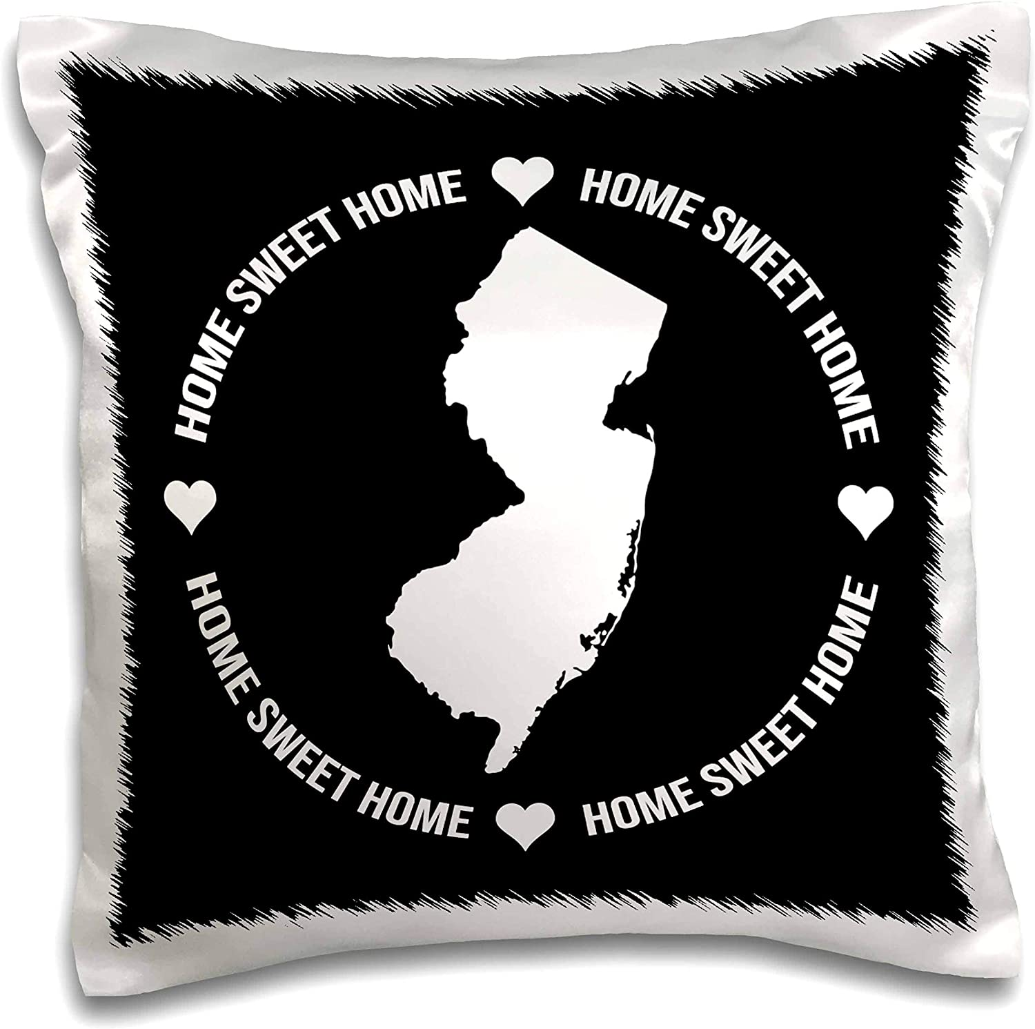 3dRose Stamp City - typography - New Jersey inside a circle of Home Sweet Home and hearts on black. - 16x16 inch Pillow Case (pc_324148_1)