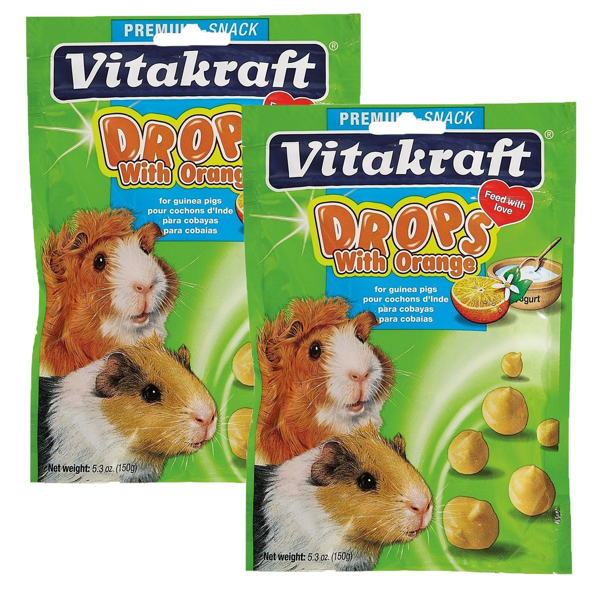 Vitakraft Guinea Pig Drops and 5.3-Ounce Pouch (2 Pack) by Vitakraft