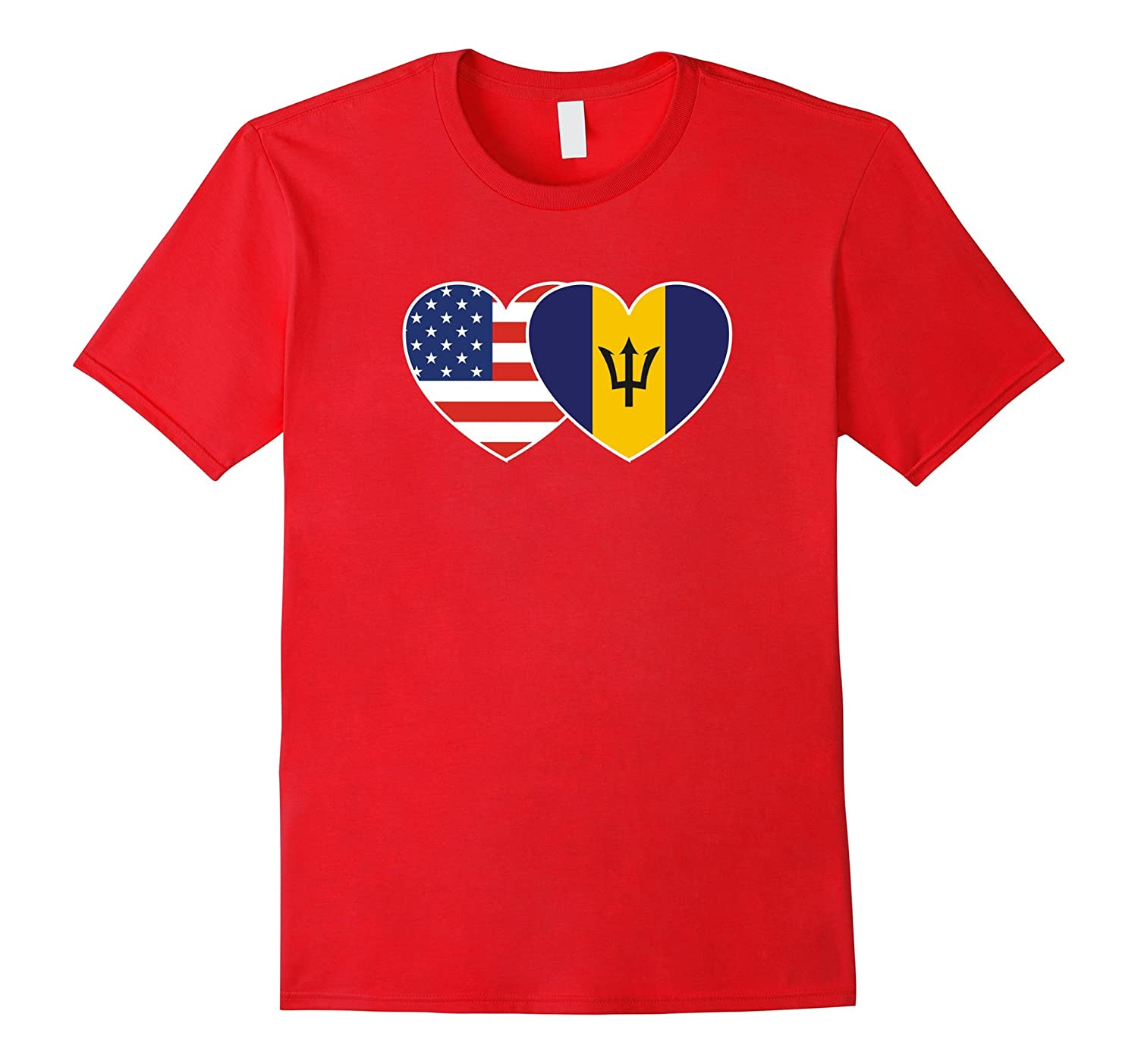 BARBADOS USA Flag Twin Heart T Shirt for Barbadian Americans-TH