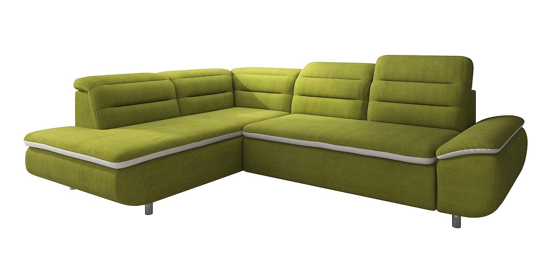 New Level Solution Polsterecke Ottomane 2 Sitzer mit Funktion Stoff,  208 x 278 x 79  cm, grün / weiß