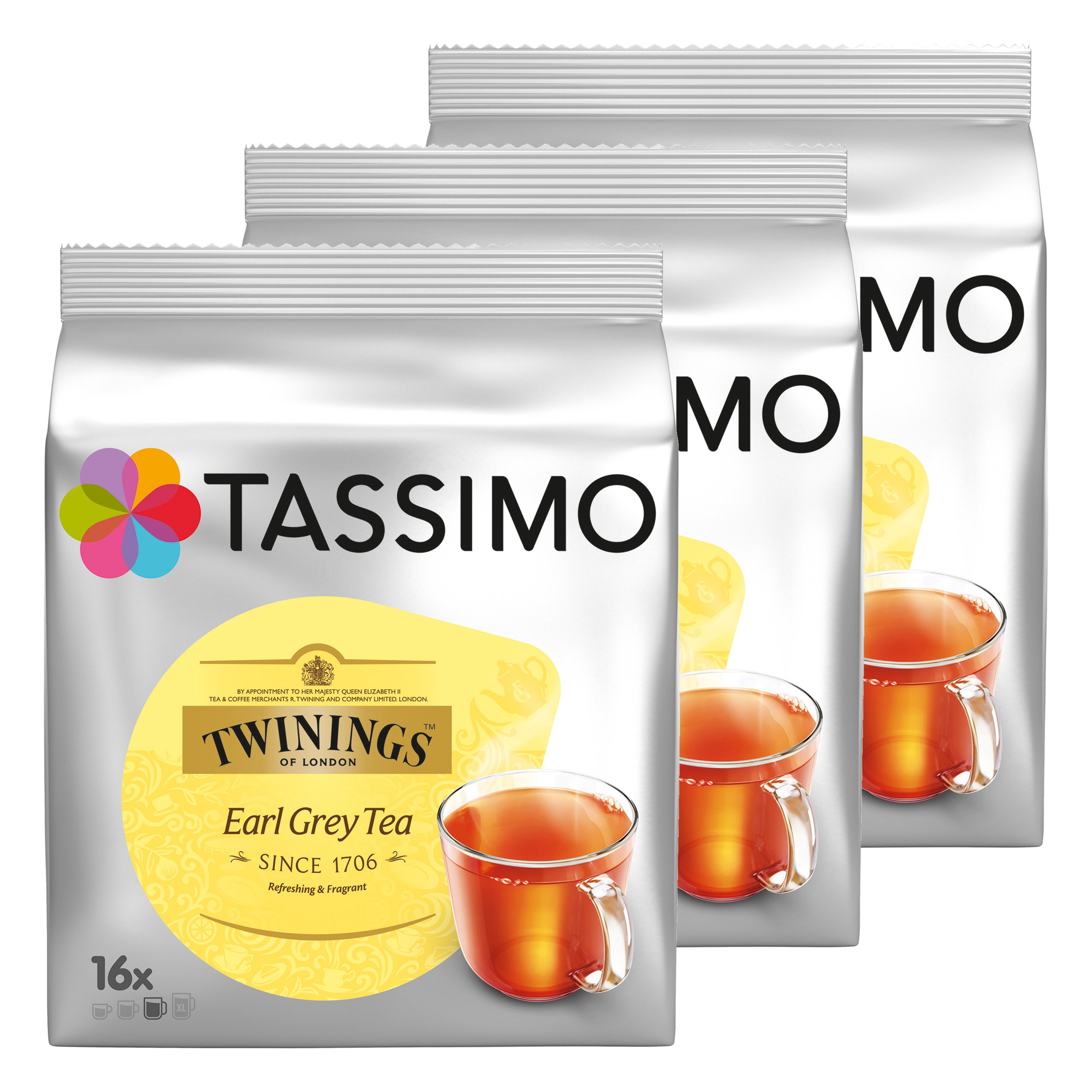 Tassimo Twinings Earl Grey Tea, Pack of 3, 3 x 16 T-Discs