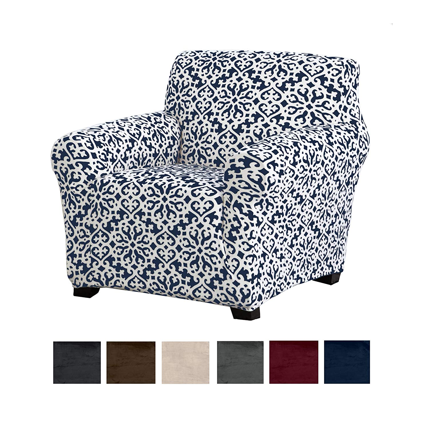Great Bay Home Modern Velvet Plush Strapless Slipcover. Form Fit Stretch, Stylish Furniture Cover/Protector. Gale Collection Brand. (Chair, Snowflake - Dark Denim Blue)