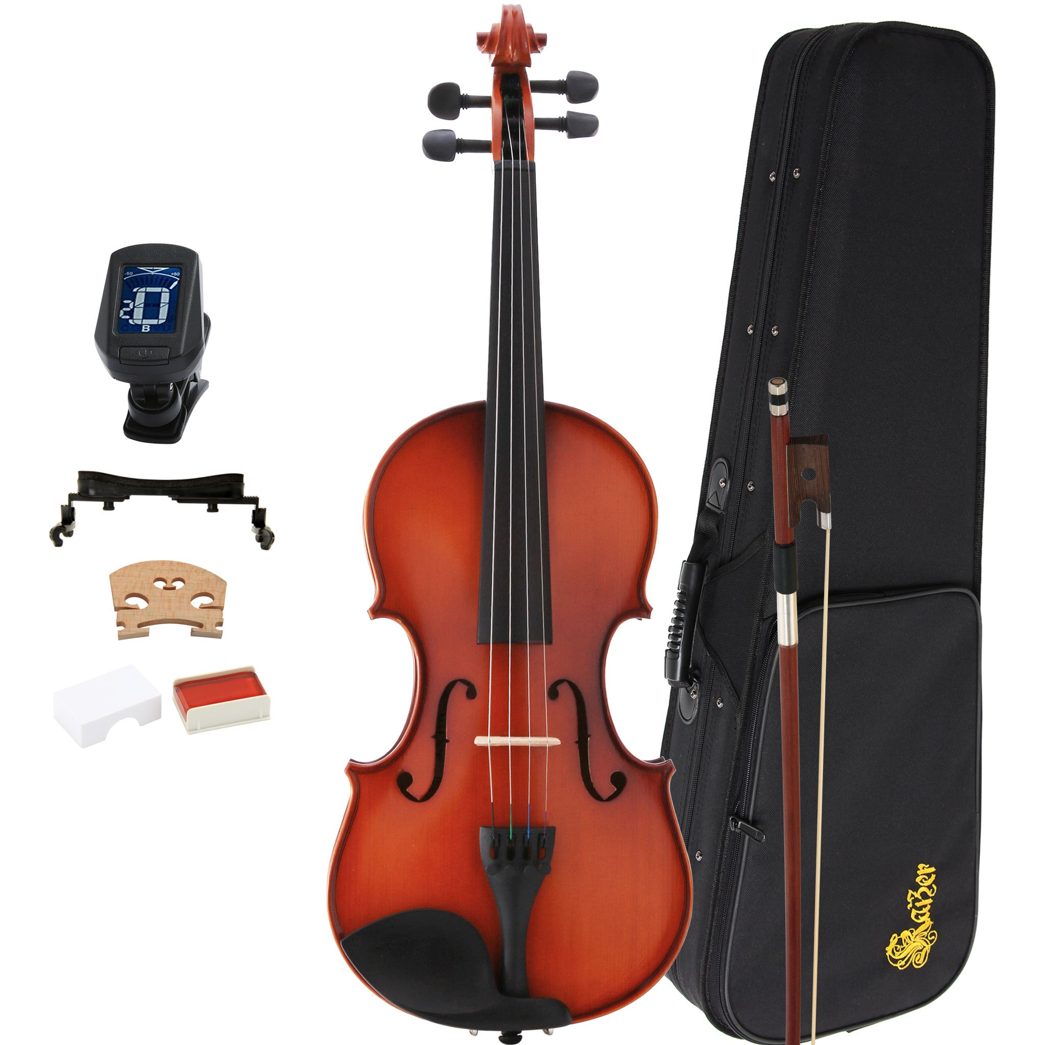 Kaizer Violin Acoustic Full Size 4/4 Antique Satin Includes Case Bow Tuner and Accessories VLN-1000ST-4/4-TNR by Kaizer