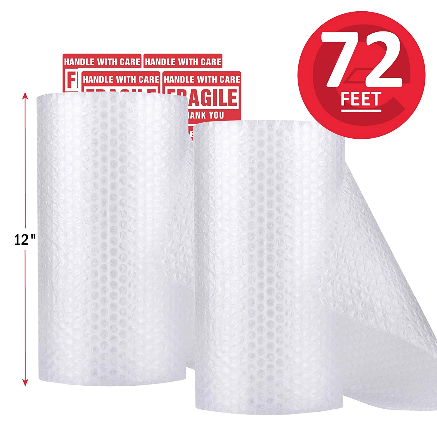 "Enko (2 Pack, Total 12 in x 72 Ft) 3/16"" Bubble Cushioning Wrap Roll Perforated 20 Fragile Sticker Labels for Moving Shipping Packing Boxes Supplies Perforated Every 12"""