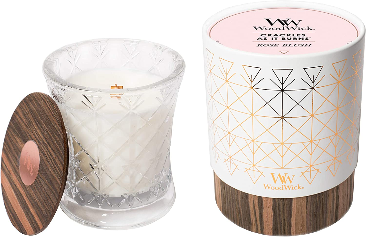 WoodWick Aura Rose Blush Scented Wood Wick 9.7 oz. Glass Jar Candle