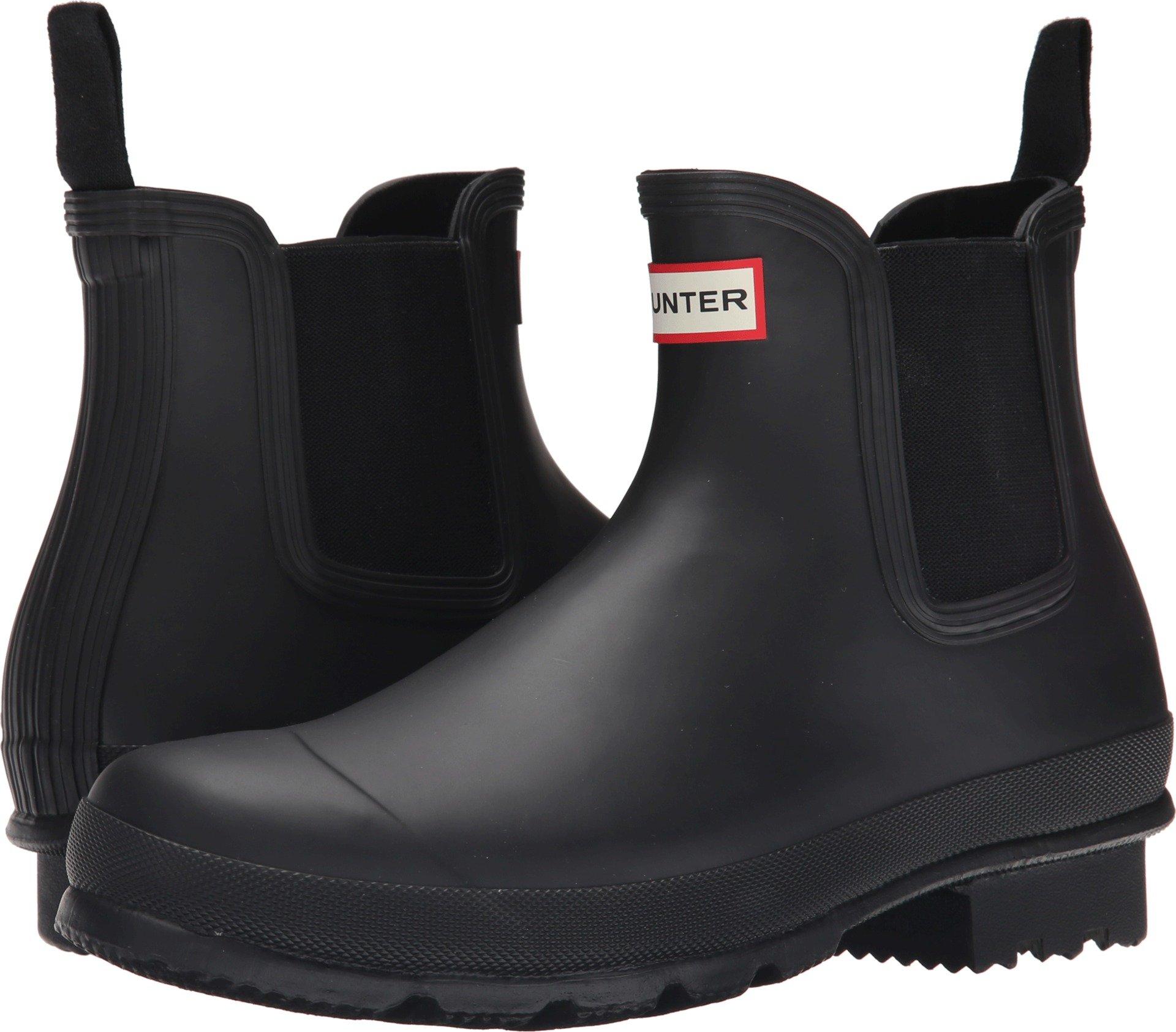 Hunter Mens Original Dark Sole Chelsea Black Rain Boot - 12