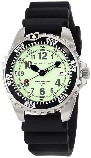 Momentum M1 - Reloj analógico de caballero de cuarzo con correa de goma negra - sumergible