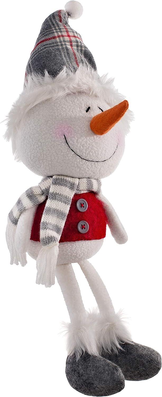 33cm Multi-Colour WeRChristmas Sitting Christmas Snowman Figurine