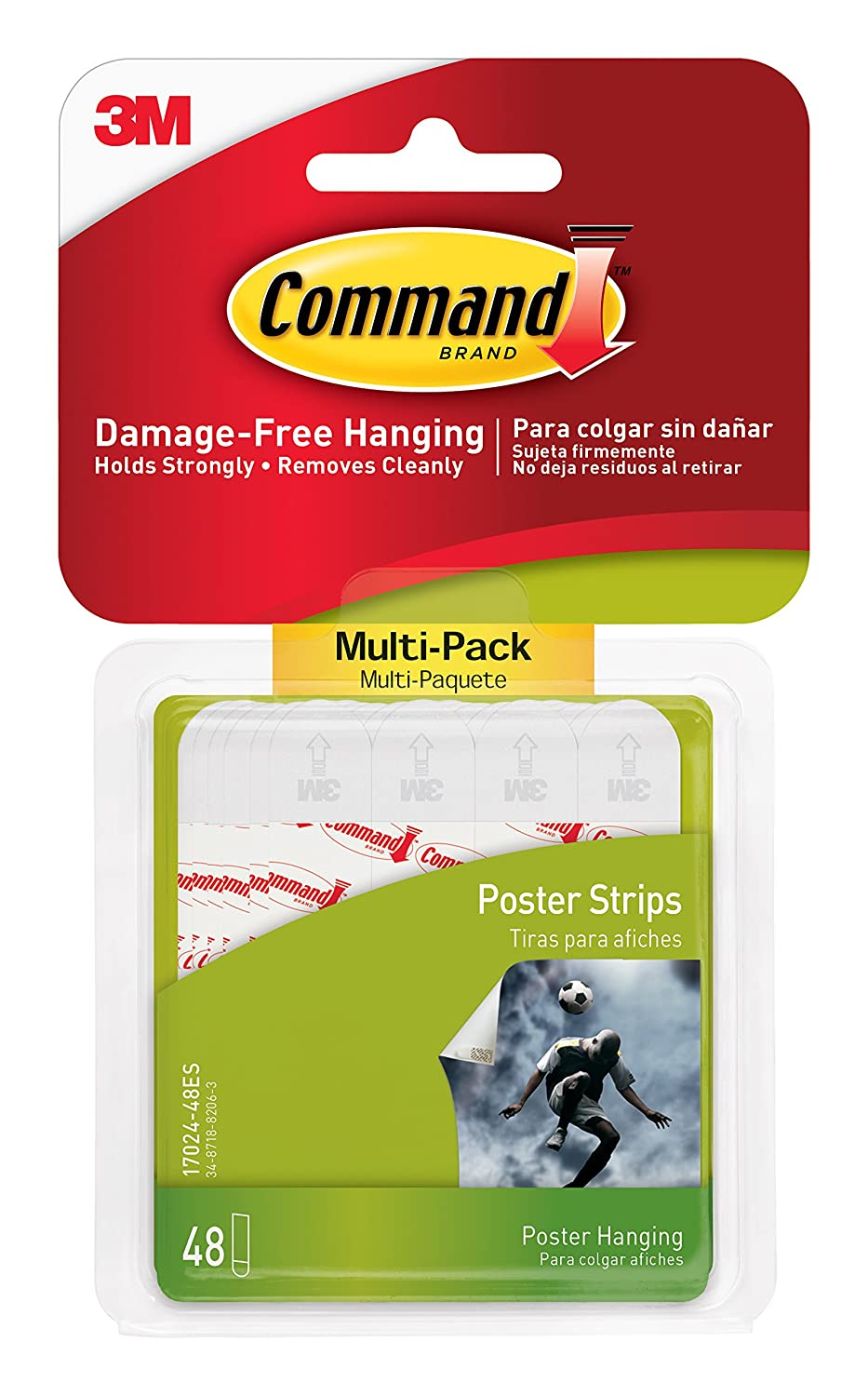 Command 3M Poster Adhesive Strip Value Pack, White, 48 Strips/Pack 3M/COMMERCIAL TAPE DIV. 17024VP