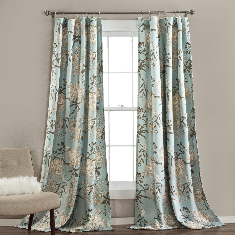 "Lush Decor Botanical Garden Curtains Floral Bird Print Room Darkening Window Panel Drapes Set for Living, Dining, Bedroom (Pair), 84"" x 52"", Blue"
