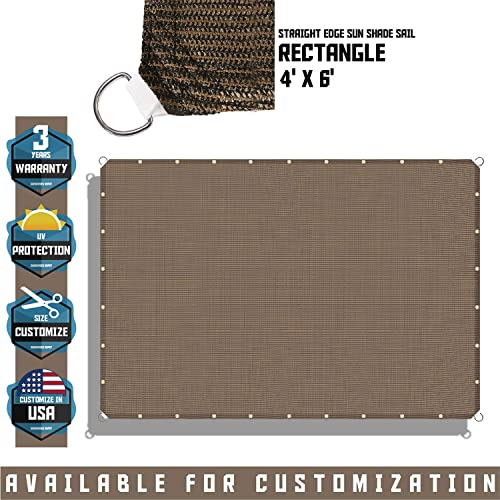 TANG Sunshades Depot 4 x 6 Straight Side Sun Shade Sail 180 GSM Brown Patio Rectangle Shade Fabric UV Blocker Shelter Deck Dock Carport Driveway Pergola Cover Outdoor Backyard Deck 3 Year Warranty