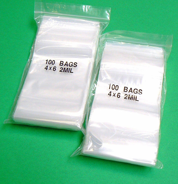 1000//Case 3 Cases 4x6 Reclosable Double Zipper Poly Bags Four Star Plastics Clear