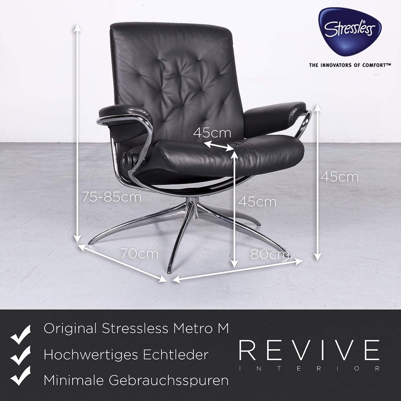 Stressless Metro M Designer Leder Sessel Low Back Schwarz Echtleder