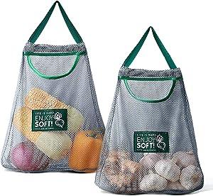 Versatile Hanging Mesh Storage Bags, Onion Storage Fruit and Vegetable Bags Breathable Storage Mesh Bags for Garlics Potatoes Onions Saver Garbage Bag Organizer Bathroom Storage Bag (Gray 2 Small)