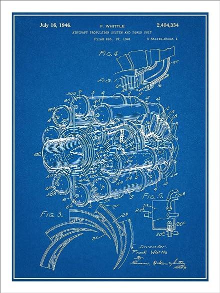 1941 aircraft jet engine patent print art poster unframed blueprint 18 - Blueprint Aircraft Engines
