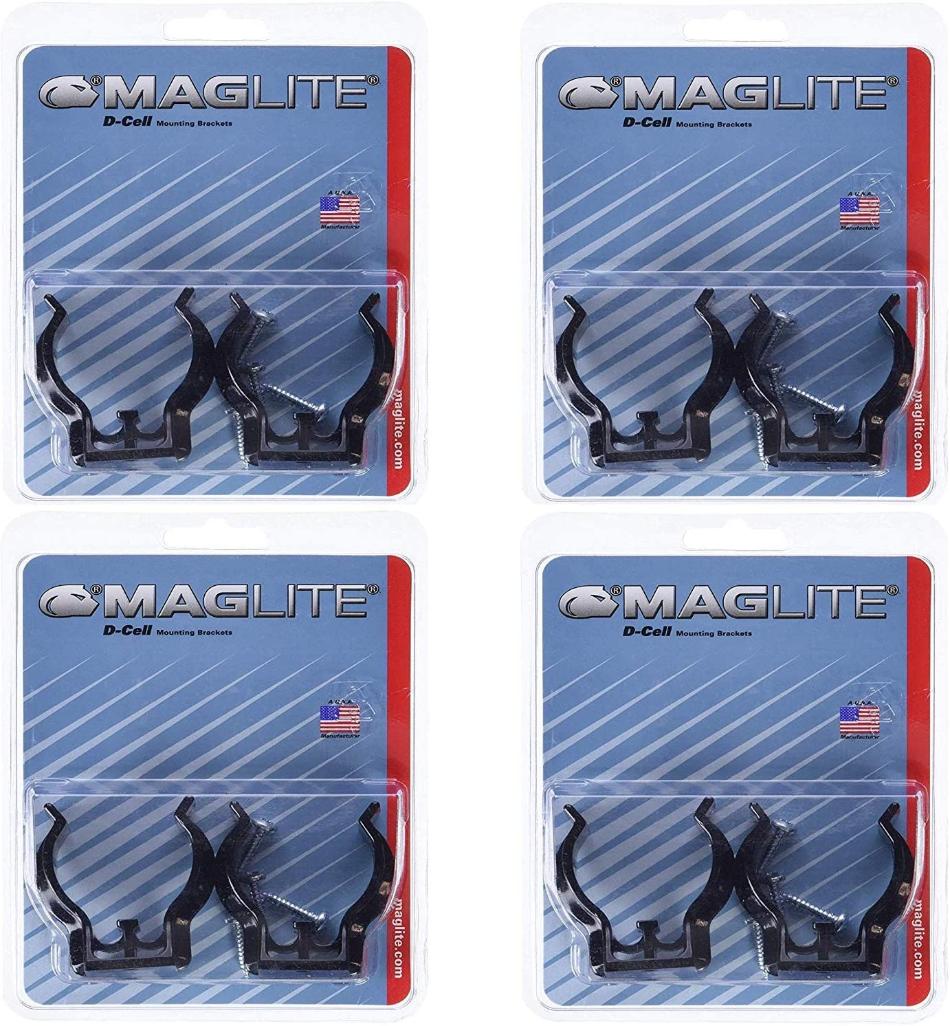 4 Pack Mag Instrument MAGASXD026 D-Cell Maglite Mounting Brackets