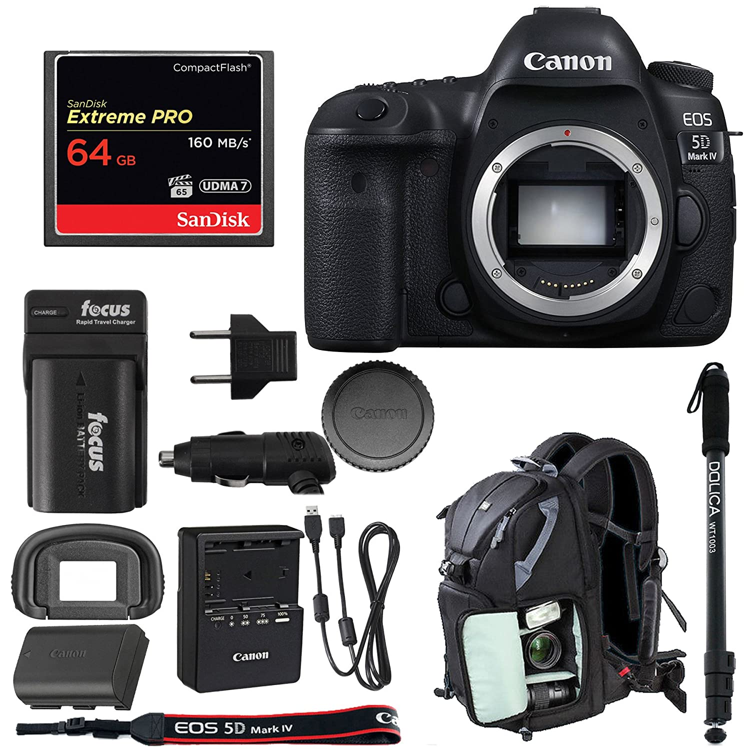 Canon Eos 5d Mark Iv Dslr Camera Body Only W 64gb 4 Compact Flash Card Bundle Photo