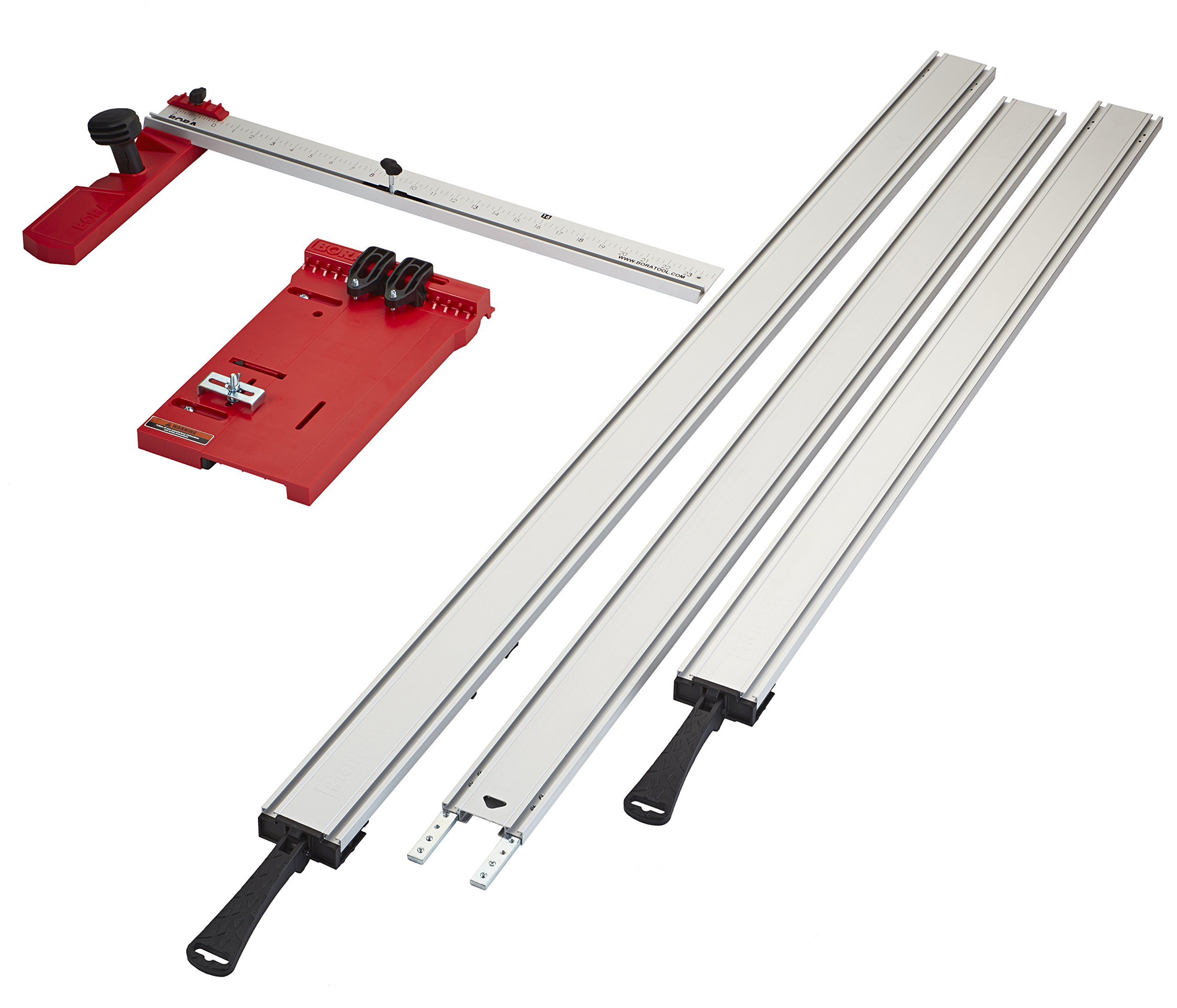 Bora 543500 50'' + 36'' Clamps + 50'' Extension + Saw Plate + Rip Handle WTX Clamping Straight Edge Saw Guide Set (5 Piece)