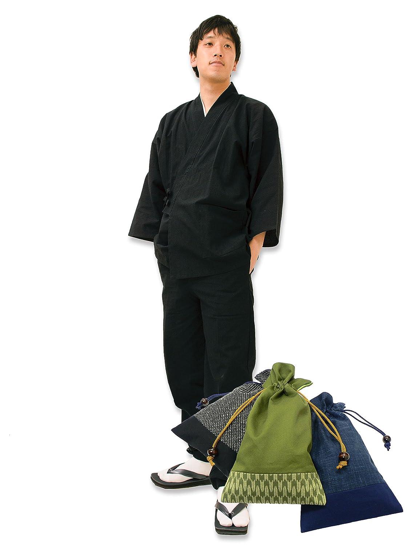 【日本製】 経てスラブ作務衣 (たてすらぶさむえ) 【IKISUGATA】 和粋庵特製巾着付き B012Q7JNN4 L|No.7 黒 No.7 黒 L