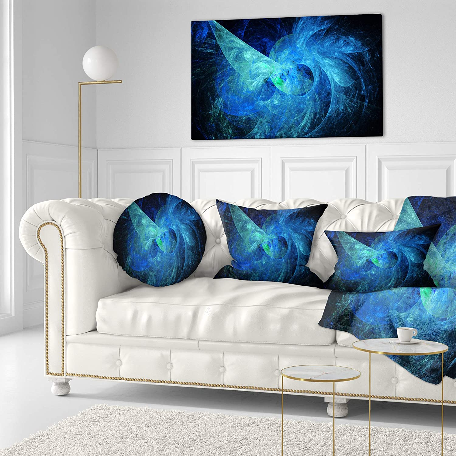 Sofa Throw Pillow 16 Designart CU15928-16-16-C Blue on Dark Fractal Illustration Abstract Round Cushion Cover for Living Room Insert Printed On Both Side